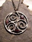 Blood Red Dark Moon Necklace by MoonLitCreations