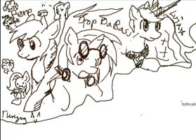ponys flockdraw lolololol by Fierying