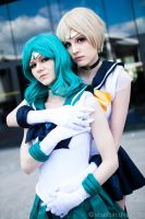 Sailor Uranus and Neptune cosplay by TheCarebearFag