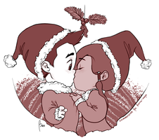Chibi!Makorra - Mistletoe by bamsicle