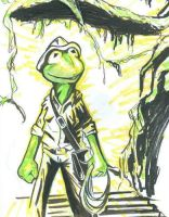 Kermit the Frog as Indy by SilverPantherStudios