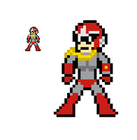 8-bit Ruby-Spears' Protoman by lalalei2001