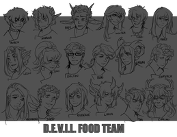 DAMMED: Food Team by aomaoe