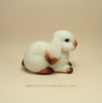 Needle felted bunny miniature by BethMiniWorld