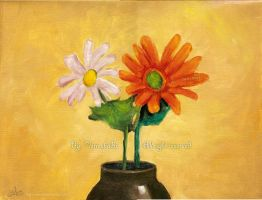 2flower  . By: Oil color by HasanMHM