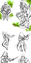 Connor Kenway sketch dump by BlackKitty68