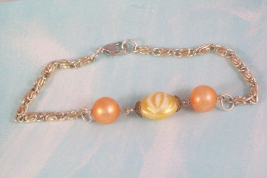 Bracelet Orange and Yellow Plastic Beaded Silver by hottyblond2000