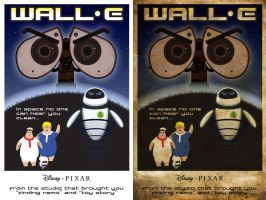 Before/After 50s Style Wall-E Poster by omegaarchetype