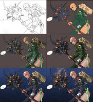 COLOR PROCESS of Skull mace by Fausti by Voodoodwarf