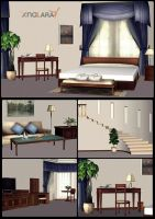 Bedroom scenery for XNALara by deexie