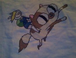 Adventure Time with Fionna and Cake cross stitch by KitsuneGemma