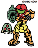 Samus armored with a baby metroid by thegamingdrawer