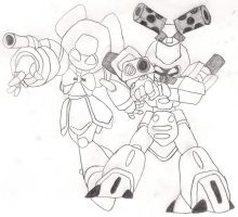 Metabee and Brass Sketch by JinxAbarda598