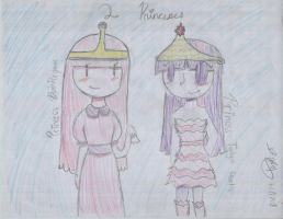 Princess Bubblegum and Princess Twilight Sparkle by EvetheHuman