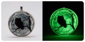 'Owl And The Moon' [Glow In The Dark] Pendant by navkaze