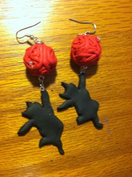 Polymer Clay Cat and Ball of Yarn Charms by KatKsudinami303