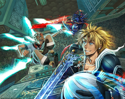 DAC3R3 Vs Tidus and Kain by copperjellyroll