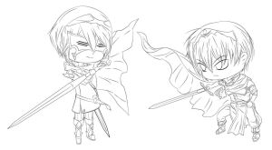 Chibi Marth vs Lucina Lineart by eruell22