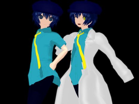 Naoto Shirogane and Shadow Persona 4 MMD by AshandFire