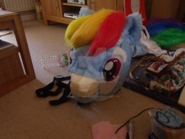 Rainbow Dash head almost done by MadHamsterCostumes