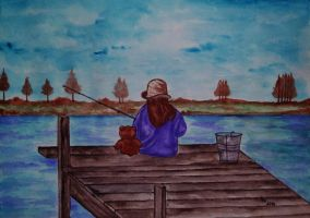 The Waiting Game (acrylic) by AlexandraDart