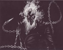 Ghost Rider Scratchboard by MindMeats