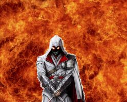 Ezio inside the fire by psycho-zombie
