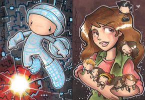 tron and kaylee cards by katiecandraw