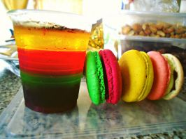 Rainbow jelly with macarons by Maraschino-Nine