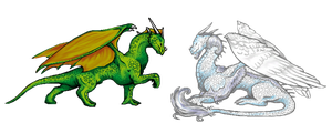 green and white dragon by EleEstel