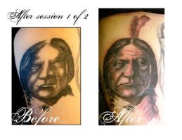 Before and After Sitting Bull by johndevilman