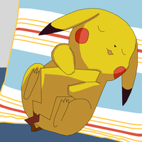 Pikachu on a pillow by athosiana
