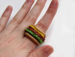Sandwich Ring On Finger by yobanda