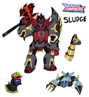 Transformers Animated- Dinobot Sludge w/ Others by DubiousDerringer