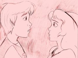 Taran and Eilonwy Stare by teh-jinxie-girlie