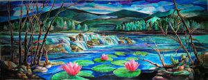 Waterfall and Lotus by MedaGritzko