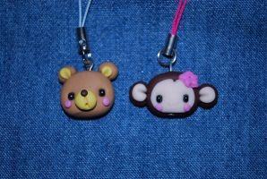 cute animals phone charms by Libellulina