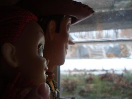 Woody and jessie watching snow fall by spidyphan2
