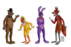 The FNAF gang by DrZombieFox