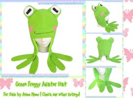 Green Froggy Aviator Fleece Hat by AnimeNomNoms