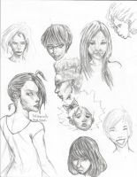 Female Face Sketches by Dreballin3x