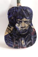 Up cycled Guitar Biro art Jimmi Hendrix by silverscape