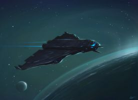 Neon Ship Darker Variation by anthon500