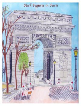 Stick Figures in Paris (Arc de Triomphe) by SophlyLaughing