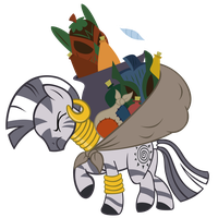 Zecora carrying stuff by sofunnyguy