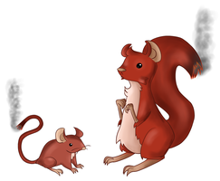 Fire mouse and squirrel fakemon by PawnRenegade