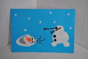 Olaf From Frozen Mini Duct Tape Painting by futureprodigy24