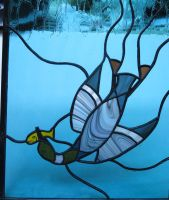 Stained Glass Diving Loon 2 by trilobiteglassworks