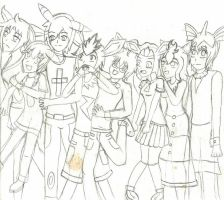 Eevee Evolutions Group Photo Lineart by FizzyBubbles
