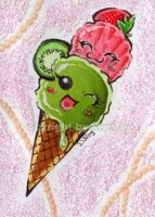 Strawberry + Kiwi Ice Cream [048] by kiwitee